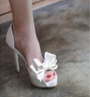 2014 Spring peep toe bowtie silk cloth red charm high heels women wedding shoes 10cm