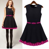 Autumn Black Block Slim Double Layer Sleeveless Elegant Girl Winter Dress with belt Free Shipping 2013 New Arrival LY121347