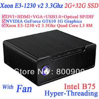 Mini desktop computers with NVIDIA GeForce GT610 1G graphics Xeon E3-1230 v2 3.3Ghz Quad Core L3 8MB CPU B75 2G RAM 32G SSD
