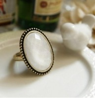 2014 Cheap Ring Wholesale Vintage Oval Gem Ring Finger Ring  (White) XY-R22 17mm size