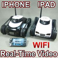 Free Shipping iPhone / iOS WiFi RC i-Spy Tank w/ Live Video Camera Functions phone control tank FSWOB