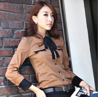 ISL095 Free shipping S~XXL Woman Long-sleeve Blouse OL Casual Shirts Bowknot Formal Cotton Shirt