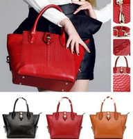 Hot selling new 2013 fashion  crocodile genuine leather  women's handbag red bride designer brand messenger bag