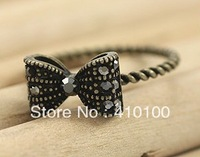 J087 Min.order $15 (mix order) popular accessories vintage drill bow ring finger ring please reach $15.00,IF NOT,don't buy