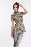 Wholesale!Chinese Classic Fashion Print Cheongsam Qipao 100% Cotton T-shirt S M L XL Free Shipping
