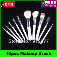Cheap 10 Pcs Cosmetic Makeup Brush Professional Kit with White Beauty Make Up Bag Free Drop Shipping
