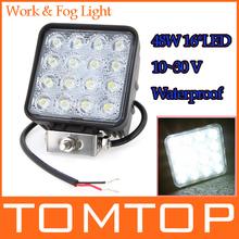 16*3W Car LED Work Lamp Light Led Fog Blub PMMA Lens Waterproof IP67 6000K For Jeep SUV ATV Off-road Truck Night work Long(China (Mainland))