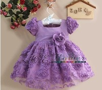 new Free shipping retail kids clothing girls/baby short-sleeves dress flower  for wedding 2 colors purple and green