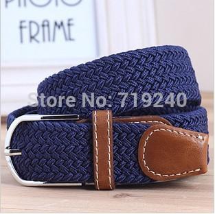 7order 0.70%. Miss Han Ban stretch woven canvas belt men elastic belt pin buckle belt Universal trouser pockets(China (Mainland))