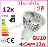 12pcs Dimmable GU10 4X3W 12W Led Lamp Spotlight 85V-265V Led Light downlight High Power free shipping
