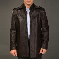 2012 men's autumn and winter clothing medium-long trench outerwear leather clothing male slim genuine leather overcoat