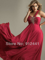 Newest Custom made Long A-Line Asymmetricak Neck Beading Zip up Back Plus Size Women Chiffon Evening Dress EPS6+Free Shipping
