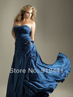 Newest Arrival A-Line Appliquied Sweetheart Satin Sequined Long Lace Up Back Plus Size Women Evening Dress EPS3+Free Shipping