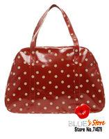FREE SHIPPING fashion red spot cath weekend bag white riding bowling bag pvc coated cotton pembridge rose travel bag floral bag