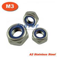 500pcs/lot DIN985 M3 Stainless Steel A2 Nylon Lock Nut