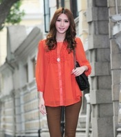 Free shipping new 2014 fasion style big size women spring neck agaric shirt sweet cute elegant in color orange black dark blue