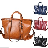 2014 NEW Wax Cowhide Work Bag portable Messenger Bags Woman Messenger Genuine Leather Handbag Women's Motorcycle bag handbags