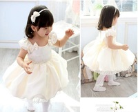 Girls dress/Beauty princess dress/white wedding dress:Satin fabric chiffon with bowknot