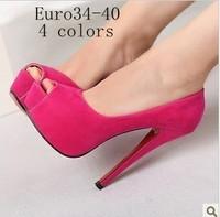 free shipping,2014 Korea princess sexy peep toe thin high heels platform women pumps,lady pumps club shoes,4 colors,euro34-40