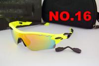 free shipping Sport Sunglasses TR90 BLACK  Frame O LOGO grey Earsocks 5 Exchangeable lens Cycling Googles for Men RADARLOCK
