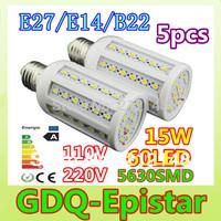 Free shipping 5x 15W 60LED 5630 SMD E27 E14 B22 Corn Bulb Light Maize Lamp LED Light Bulb Lamp LED Lighting Warm/Cool White