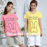 2015 Summer Maternity Clothing Smile Rabbit T-Shirt Short-Sleeve Nursing Knitted Cotton Summer Tops Tees Breast Feeding Clothing