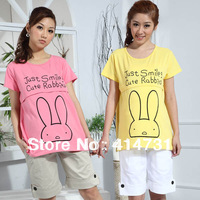 2014 Summer Maternity Clothing Smile Rabbit T-Shirt Short-Sleeve Nursing Knitted Cotton Summer Tops Tees Breast Feeding Clothing