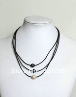 Free Shipping Freshwater Pearl and Leather Necklace Summer Seaside Jewlery