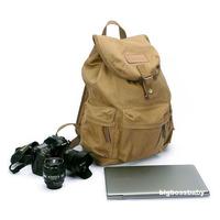 Khaki Vintage Canvas Casual pocket leather DSLR SLR Camera laptop Bag Backpack Rucksack for canon sony nikon waterproof