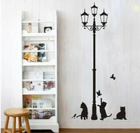 Free Shipping Popular Ancient Lamp Cats and Birds Vinyl Removable Wall Sticker Wall Mural Home Decor Baby Room Kids