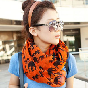 Free shipping2013 Fashion cute European style small elephant printed long voile scarves  BA-063