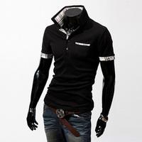 Men's Fashion Short Sleeve Tee Polo Shirts/ Cotton Plaid Patchwork Polo Shirt/ Mens Polo Shirts
