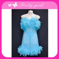 Fashion Blue Hot Lingerie See Through Nightwear sheer babydoll