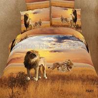 FS-431 Lion animals oil painting bedclothes 4pcs bedding sets queen king 3d Luxury Duvet Quilt cover bedsheets cotton bed linen