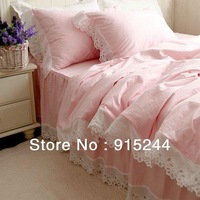 Luxury Bedding 4pcs set European Pink cutout embroidered lace cotton duvet quilt cover ruffle unique elegant bed set Queen King