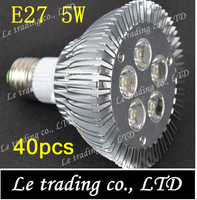 40pcs/lot E27 PAR30 5W LED Spotlight Light Bulb Lamp AC85-265V High Power Free shipping