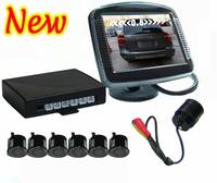"""Free Shipping New Fashion Car Rear View Camera Video Parking Sensors 6 Sensors & 3.5"""" TFT LCD Car Monitor Display"""