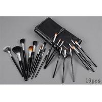 new 19 pcs make up cosmetic brush set with cosmetic bag,Animal wool,free shipping,CBS-1021-03