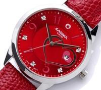 Authentic Casima 2601 Brand Quartz Wrist Women Watch Fashion Happies Heart Shape Red Leather Round Date Calendar Lovers