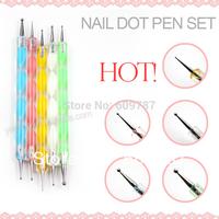 Free shipping 5sets/Lot 2 ways Steel Dotting Marbleizing Pen Nail Dotting Marble Pen