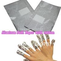 150PCS Aluminum Foil Paper with cutton FOR UV gel wraps remover