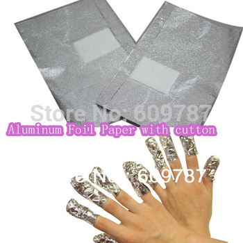 Free shipping + 150PCS Aluminum Foil Paper with cutton FOR UV gel wraps remover nail product retails & wholesale
