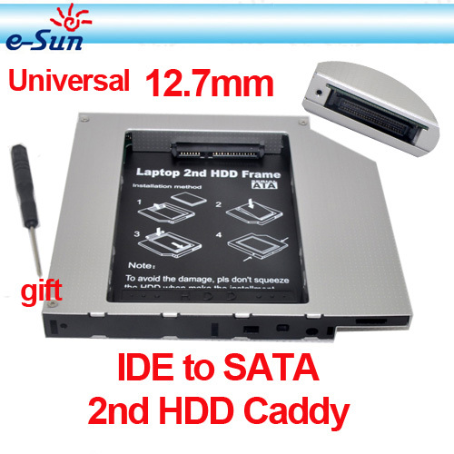 2013 New Style Whole sale IDE to SATA Hard Drive Caddy to CD Bay Adapter 12.7mm universal 2nd HDD Caddy laptops Free shipping(China (Mainland))