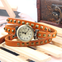 2013 new !Fashion Popular Square Rivets Rome Woman Watch Bracelet Watch Genuine Leather Band dress watch 5 colors Free Shipping