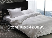 Free Shipping 100% Cotton White Design Queen King 4pcs Bedding Set Bed Linen Duvet Cover Set