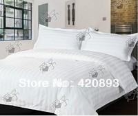 Free Shipping Hotel Bed Linen 40S 100% Cotton Flat Sheet Set 3pcs and 4pcs Bedding Set