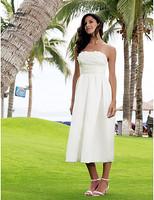 Listen ! Smelling... Yesterday Once M...... Sheath/ Column Strapless Tea-length Taffeta Wedding Dress
