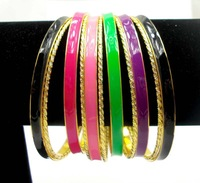 Enamel Fashion Bangle and Bracelets, Wholesale  Multicolor Fashion Bangle Set. 2013 Cool Stuff Bracelets Set for Women