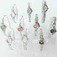 free shipping 10pcs/lot Gift Hot Brand New Mixed Bulk 10PCS beautiful Silver Lady Women Quartz Wrist Watch ABL