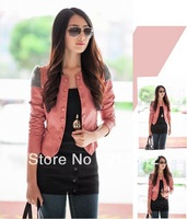 Hot sale!!! 2013 New Fashion Womens Korea Slim PU Jacket Ladies leather Jacket Coat Fur Clothing Free Shipping ,005